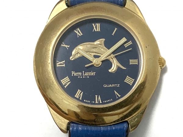 ピエールラニエ 腕時計 017 レディース イルカモチーフ/革ベルト ブルー
