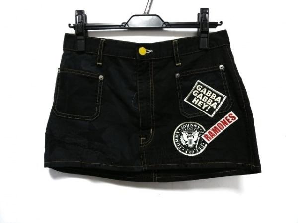 ヒステリックグラマー ミニスカート サイズF レディース美品  黒×マルチ GABBA