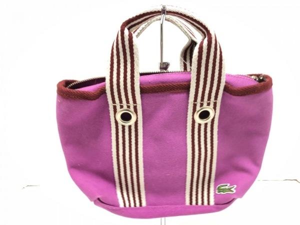 Lacoste(ラコステ) ハンドバッグ ピンク×ボルドー×アイボリー キャンバス