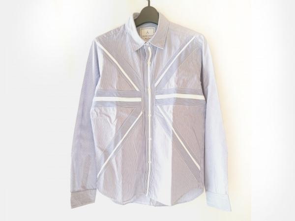 BLACK&BLUE(ブラックアンドブルー) 長袖シャツ サイズ3 L メンズ ネイビー×白