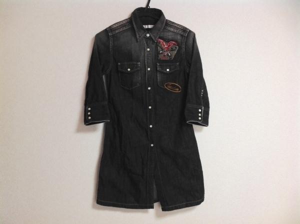 roar(ロアー) ワンピース レディース 黒×ダークグレー デニム/刺繍/シャツワンピ