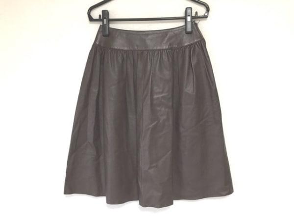 miss ashida(ミスアシダ) スカート サイズ9 M レディース ダークブラウン レザー
