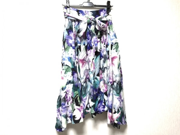 INED(イネド) スカート サイズ9 M レディース 白×ピンク×マルチ 花柄