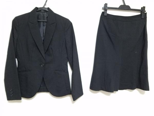 COMME CA ISM(コムサイズム) スカートスーツ レディース 黒×グレー 斜めストライプ