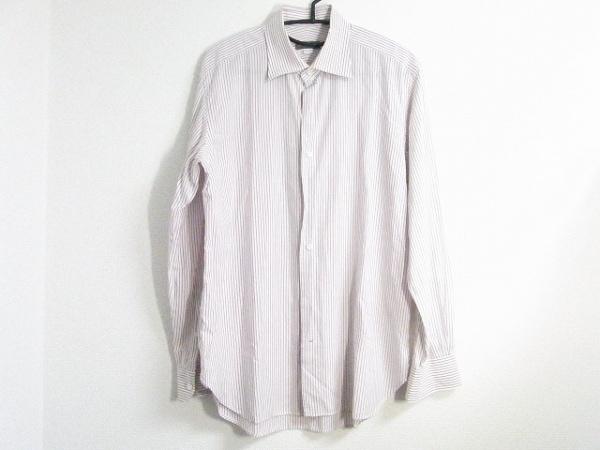 ORIAN(オリアン) 長袖シャツ サイズ40 M メンズ 白×パープル ストライプ/BEAMS