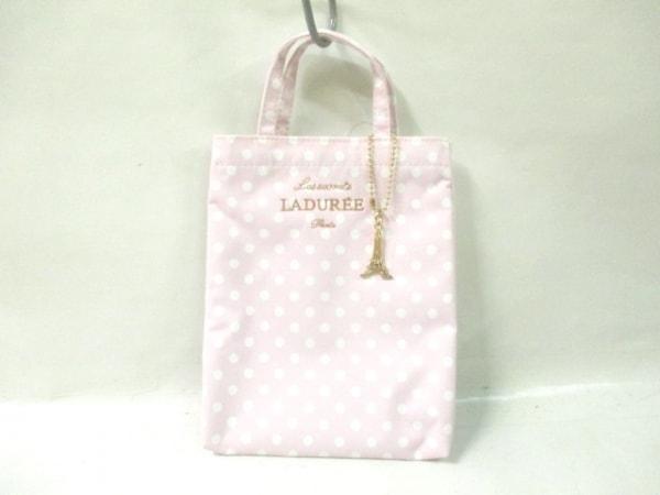 LADUREE(ラデュレ) トートバッグ美品  ピンク×白 ドット柄/ミニ ポリエステル