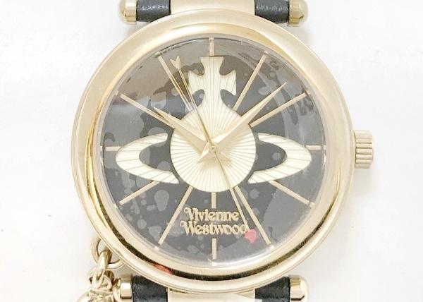 ヴィヴィアン 腕時計美品  VV006BKGD レディース 革ベルト/オーブ アイボリー×黒