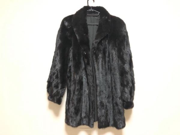 SAGA MINK(サガミンク) コート レディース 黒 ネーム刺繍/冬物