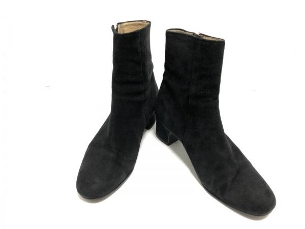 卑弥呼(ヒミコ) ショートブーツ 24 1/2 レディース 黒 ジップアップ スエード