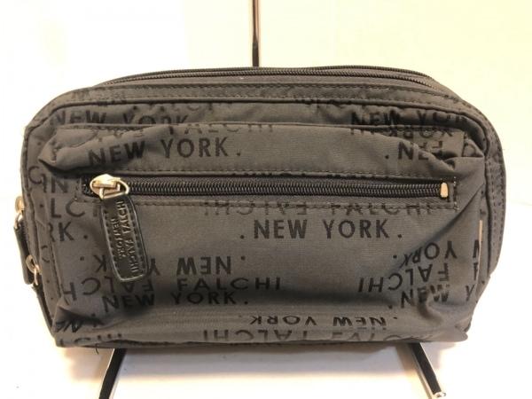 Falchi New York(ファルチ ニューヨーク) ウエストポーチ美品  カーキグレー×黒