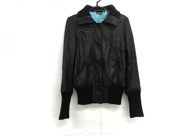 DOMA(ドマ) ブルゾン サイズS レディース 黒 レザー/襟袖ニット/冬物