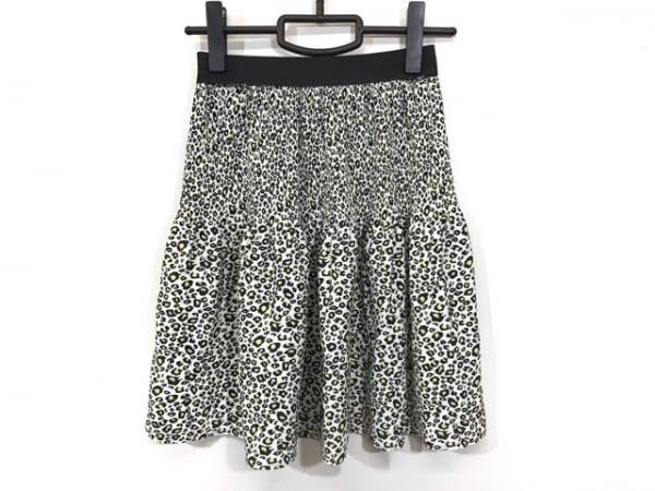 PAOLA FRANI(パオラ フラーニ) スカート サイズS レディース 白×黒×イエロー 豹柄