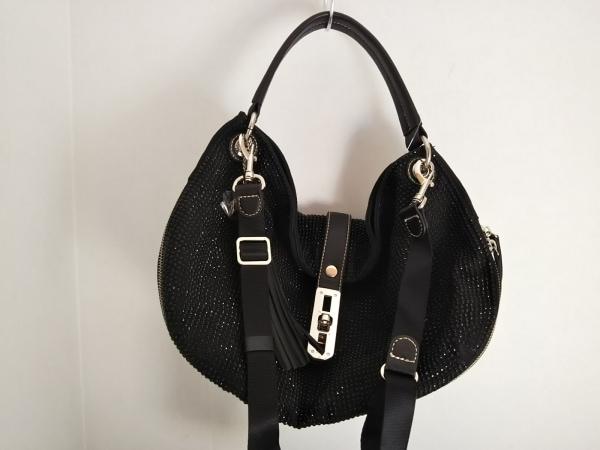 ラバガジェリー ハンドバッグ美品  黒 スタッズ 化学繊維×プラスチック×レザー