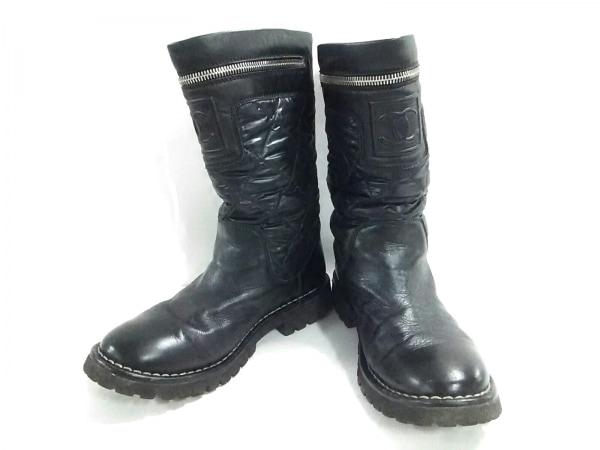 シャネル ブーツ 35 レディース コココクーン IG26537 黒 ナイロン×ラムスキン