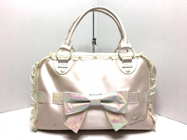 LIZLISA(リズリサ) ハンドバッグ ピンク リボン 化学繊維×レザー