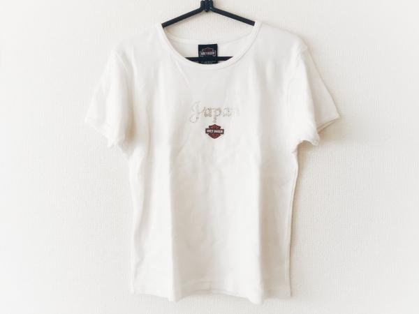 ハーレーダビッドソン 半袖Tシャツ サイズL レディース アイボリー ラインストーン