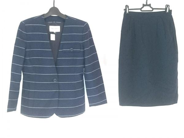 ジュンアシダ スカートスーツ サイズ11 M レディース美品  ネイビー×白 ボーダー