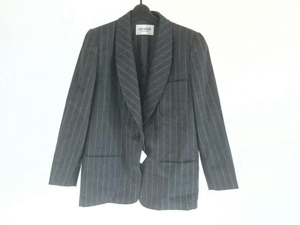 ジュンアシダ ジャケット サイズ9 M レディース美品  ダークグレー×ベージュ