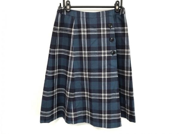 ヨークランド スカート サイズ13 L レディース美品  ブルー×ネイビー×アイボリー