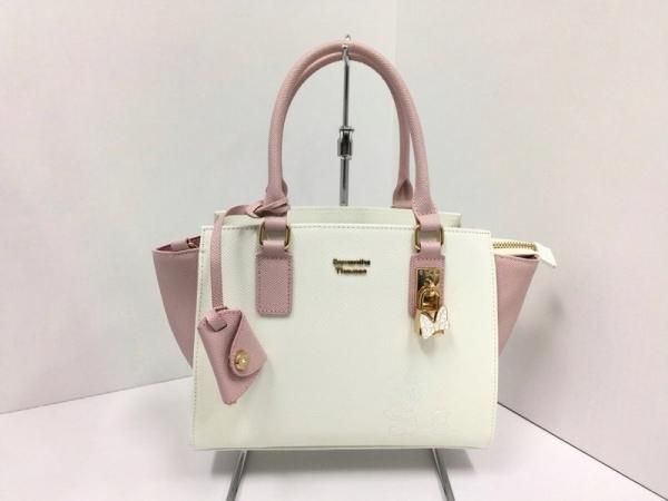 サマンサタバサ ハンドバッグ美品  白×ピンク Disney/ミニ― レザー