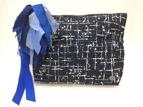 MUGUET(ミュゲ) クラッチバッグ美品  黒×ブルー×マルチ リボン 化学繊維