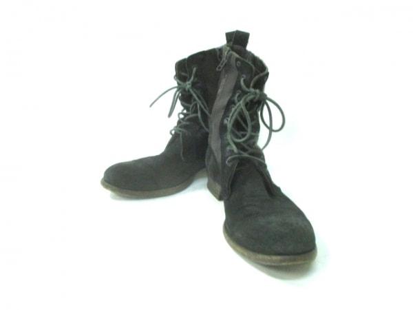 マーシェルシェ ショートブーツ 42 メンズ 黒 アウトソール張替済 レザー×スエード