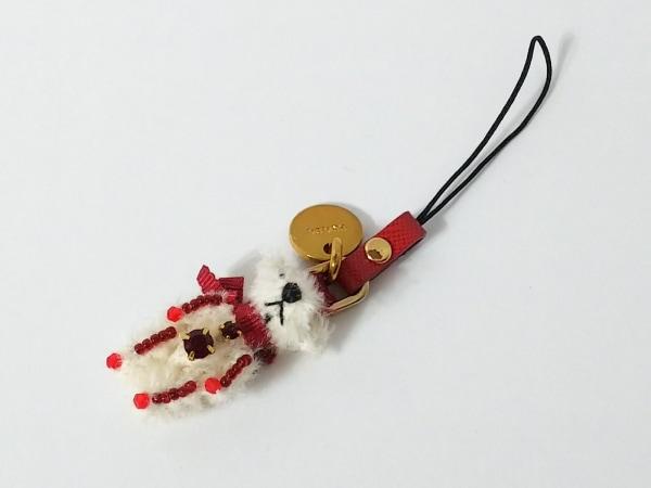 PRADA(プラダ) 携帯ストラップ美品  白×レッド クマ モヘア×ラインストーン×ビーズ