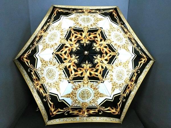 ヴェルサーチ 折りたたみ傘美品  ゴールド×黒×アイボリー×マルチ 化学繊維