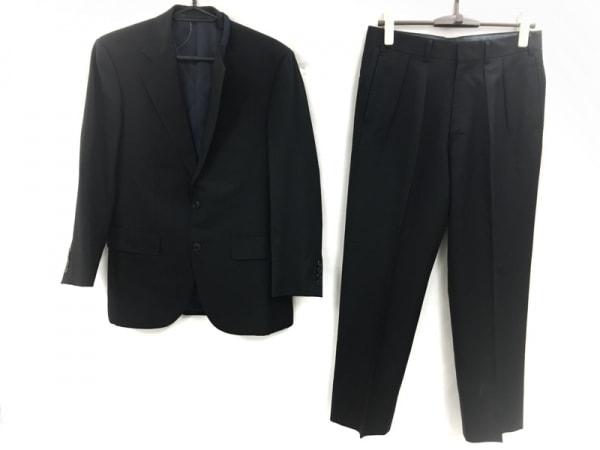バーバリーロンドン シングルスーツ メンズ 黒 ストライプ/ネーム刺繍