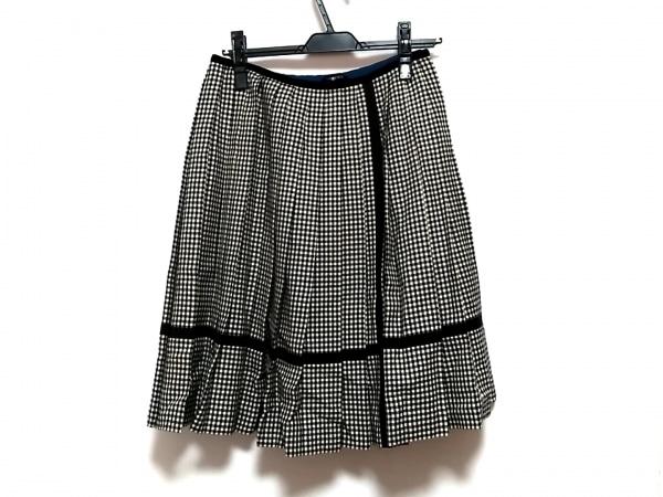 Lois CRAYON(ロイスクレヨン) スカート サイズM レディース美品  白×黒 チェック柄