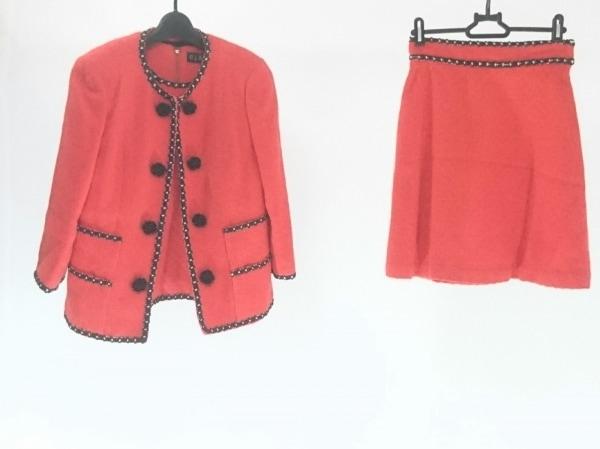 CLATHAS(クレイサス) スカートスーツ サイズ38 M レディース美品  レッド×黒