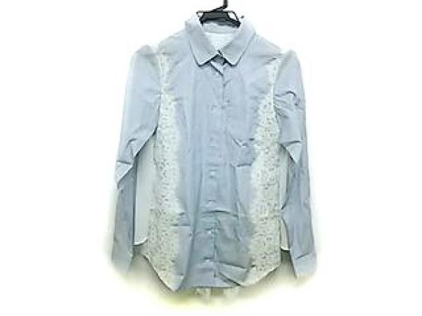 CLEAN2(クリーン) 長袖シャツブラウス レディース ライトブルー×ダークネイビー×白