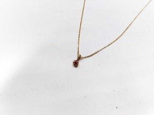 NOJESS(ノジェス) ネックレス美品  K10YG×カラーストーン レッド