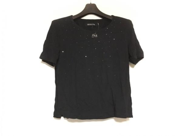 イタリヤ 半袖Tシャツ サイズ11 M レディース美品  黒 肩パッド/ラインストーン