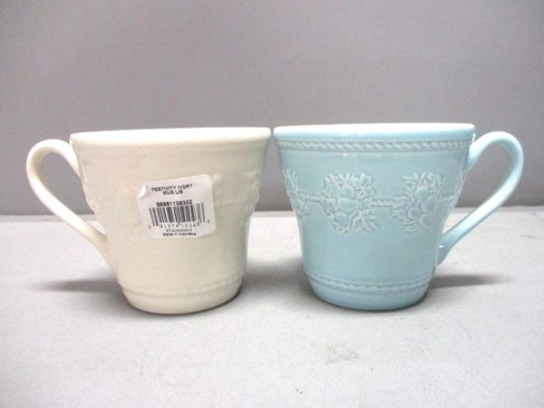 ウェッジウッド マグカップ新品同様  FESTIVITY ライトブルー×アイボリー 陶器