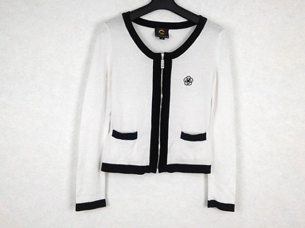 CLATHAS(クレイサス) ブルゾン サイズ38 M レディース美品  白×黒 春・秋物/ニット