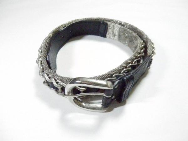 NANNI(ナンニ) ベルト シルバー×黒 金属素材×レザー