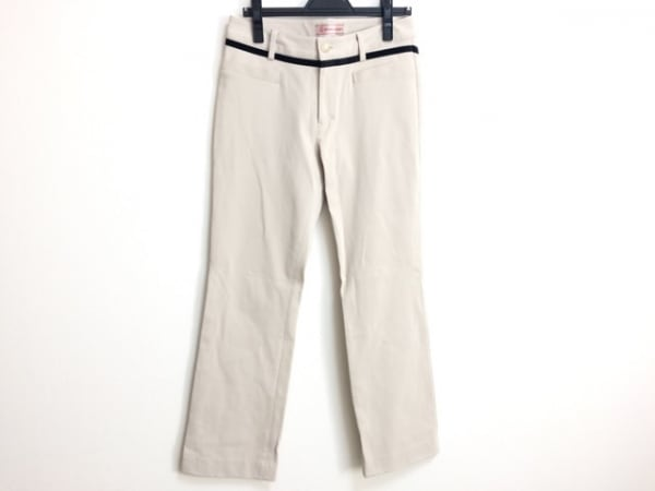 ミエコウエサコ パンツ サイズ42 L レディース ベージュ×黒 リボン/ラインストーン