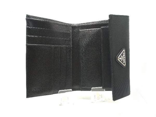 PRADA(プラダ) 3つ折り財布美品  - M510 黒 ナイロン 3