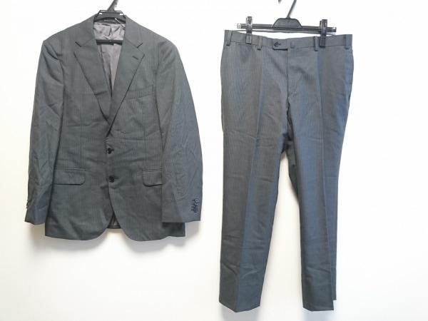 HILTON(ヒルトン) シングルスーツ メンズ グレー ネーム刺繍/ストライプ/3点セット