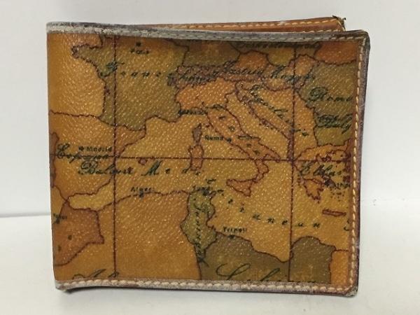 プリマクラッセ 2つ折り財布 ブラウン×カーキ×マルチ PVC(塩化ビニール)