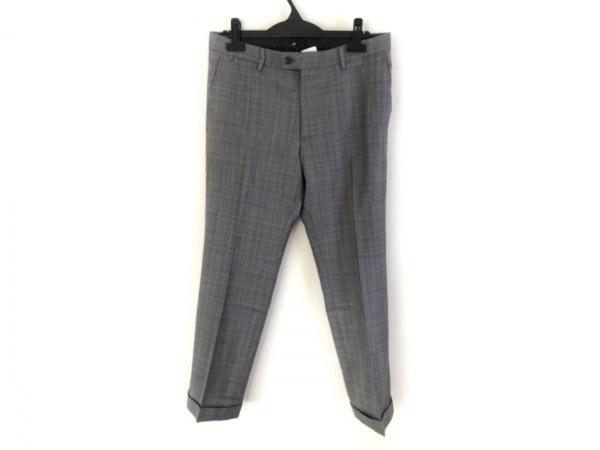 COMME CA MEN(コムサメン) パンツ サイズ48 XL メンズ グレー×黒 チェック柄