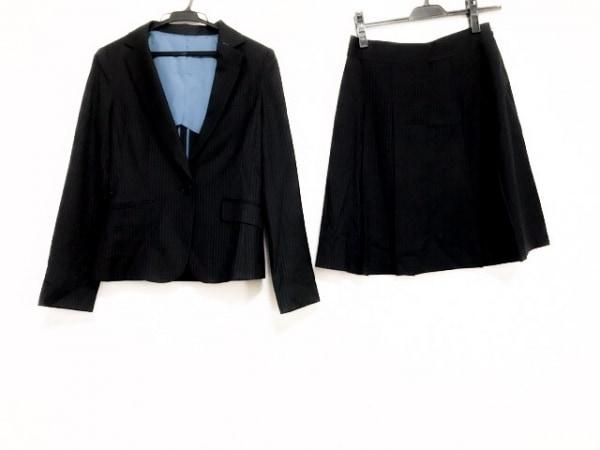ru(アールユー) スカートスーツ サイズ9M レディース 黒×ライトグレー ストライプ