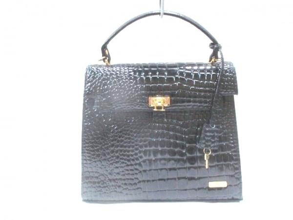 バレンチノマルディーニ ハンドバッグ 黒 型押し加工 エナメル(レザー)