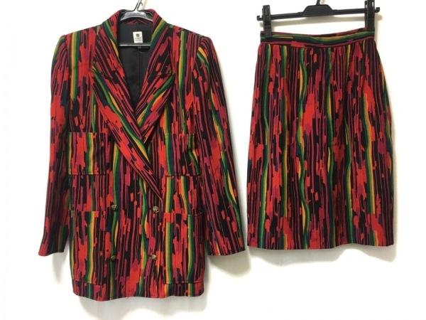 ウンガロ スカートスーツ サイズ9 M レディース レッド×グリーン×マルチ 肩パッド