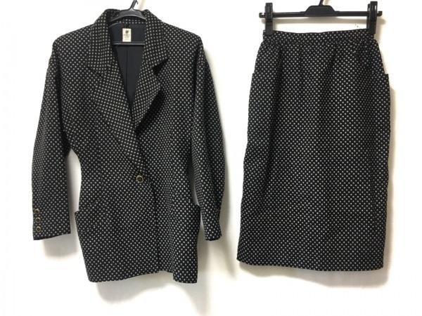 Ungaro(ウンガロ) スカートスーツ サイズ7 S レディース 黒×白 肩パッド/ドット柄