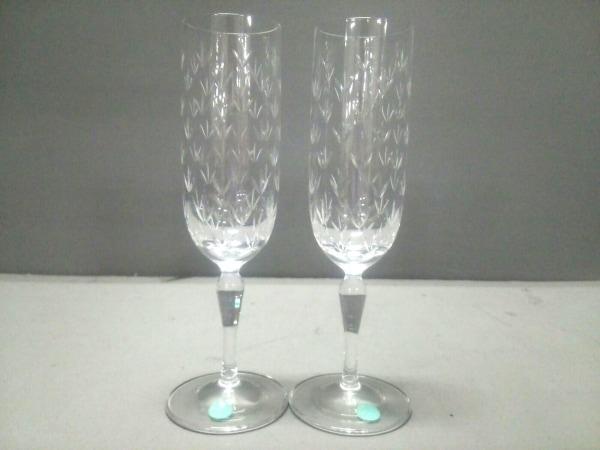 separation shoes 2426b 19b64 ティファニー ペアグラス新品同様 フローレット クリア シャンパングラス×2 ガラス