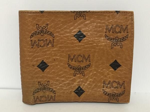 MCM(エムシーエム) 2つ折り財布 ブラウン×黒 合皮
