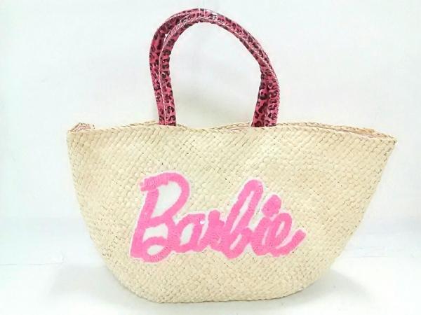 Barbie(バービー) トートバッグ ベージュ×白 かごバッグ/スパンコール/豹柄