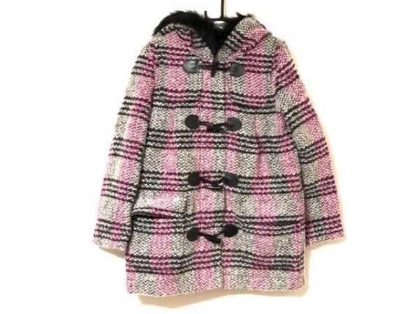 Barbie(バービー) ダッフルコート サイズS レディース美品  ライトグレー×ピンク×黒